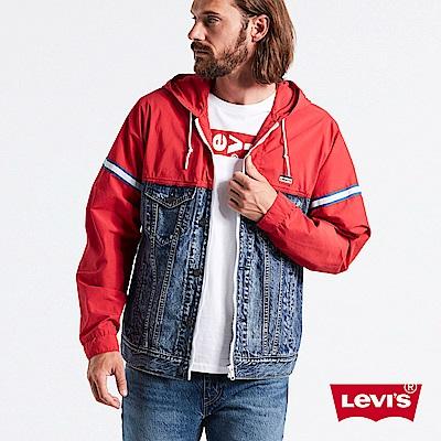 Levis 男款 風衣連帽外套 異材質拼接 Logo 布章