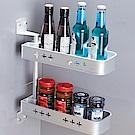 AA086-S2 雙層銀色旋轉置物架 太空鋁免打孔 無痕免釘廚房置物架