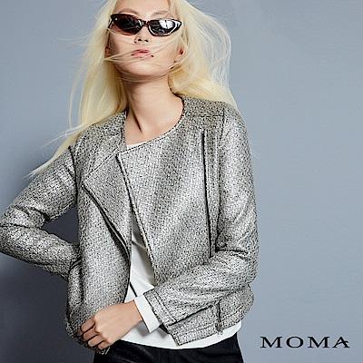 MOMA 燙銀毛呢騎士風夾克
