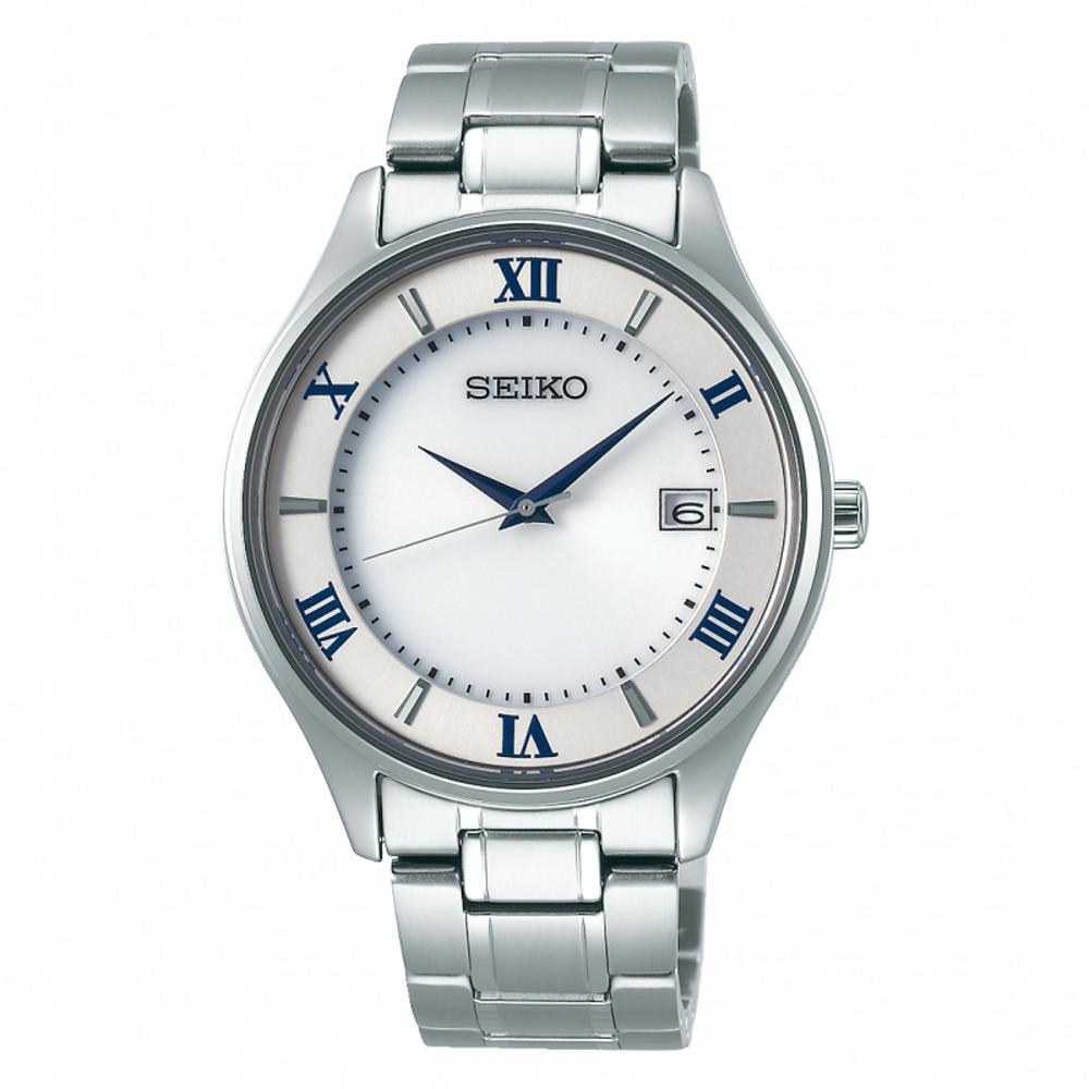 SEIKO精工 藍寶石鏡面鈦金屬太陽能腕錶/V157-0CZ0S/SBPX113J