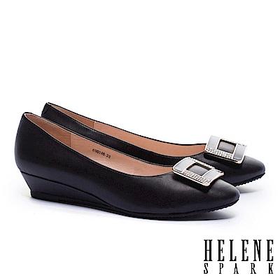 低跟鞋 HELENE SPARK 經典滴油晶鑽方釦全真皮楔型低跟鞋-黑
