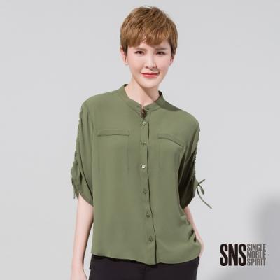 SNS 迷人氛圍抽繩綁帶短袖襯衫(2色)