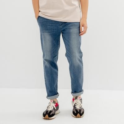 H:CONNECT 韓國品牌 男裝-自然洗色抽繩鬆緊直筒牛仔褲