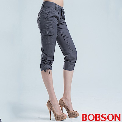 BOBSON 側邊貼口袋七分褲-深灰