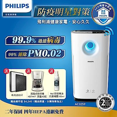 [時時樂限定]飛利浦PHILIPS 12-18坪 Wifi旋風級抗敏空氣清淨機 AC3259