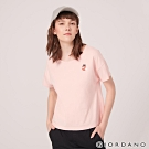GIORDANO 女裝純棉動物刺繡寬版落肩T恤-29 草莓粉紅