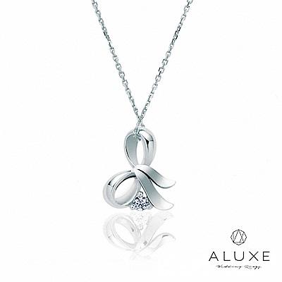 A-LUXE 亞立詩 Gifts系列 蝴蝶結 白K金美鑽項鍊