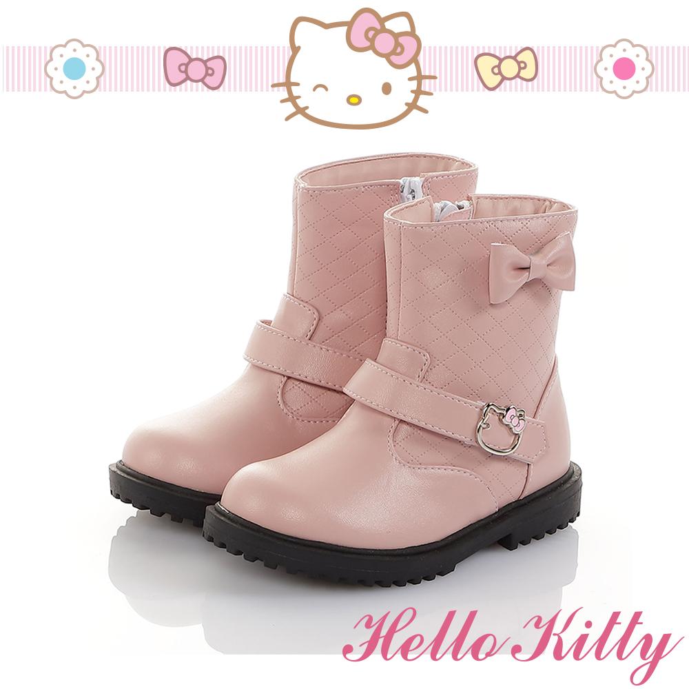 HelloKitty童鞋 傳統手工鞋氣質蝴蝶結高級超纖皮革防滑靴-粉
