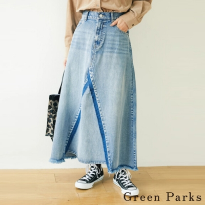 Green Parks 正面下擺拼接設計牛仔裙