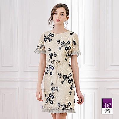 ILEY伊蕾 雪紡拼接刺繡蕾絲洋裝(米)