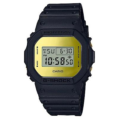 G-SHOCK 35周年霧面磨砂黑設計運動錶(DW-5600BBMB-1)-黑金/48.9