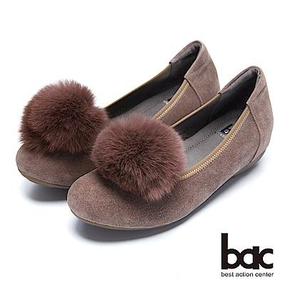 【bac】都會新秀 - 2WAY可拆式減齡毛球飾釦平底鞋