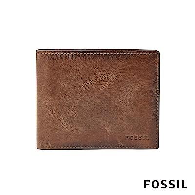 FOSSIL DERRICK 棕色真皮大零錢袋RFID男夾