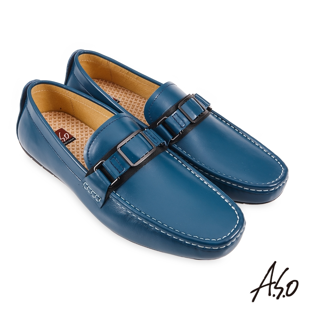 A.S.O 機能休閒 3D超動能金屬扣減壓樂福休閒鞋-藍