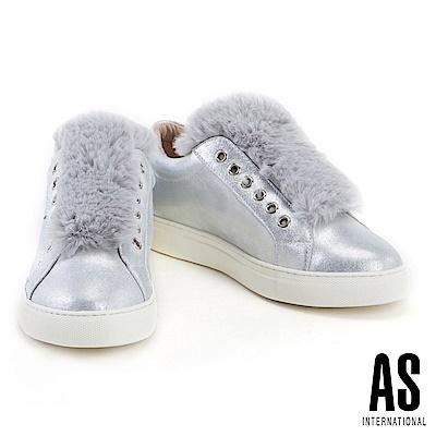 休閒鞋 AS 毛毛拼接金屬貼膜羊麂皮厚底休閒鞋-銀