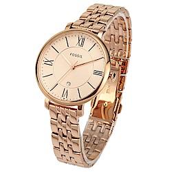 FOSSIL Jacqueline 羅馬時標玫瑰金不鏽鋼腕錶 -(ES3435)-36mm