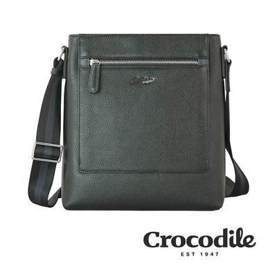 Crocodile 鱷魚皮件 Match 2.0系列 荔紋 直式斜背包 側背包-0104-09201-黑咖兩色