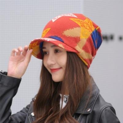 【89 zone】法式五角星優雅透氣保暖套頭防風/頭巾帽(西瓜紅)