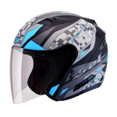 【iMiniDV】SOL+DV SO-7 迷彩 內建式 安全帽 行車紀錄器/消光黑/藍