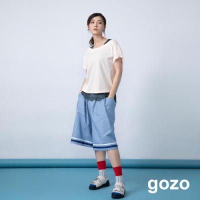 gozo 造型配色線條五分寬褲(二色)
