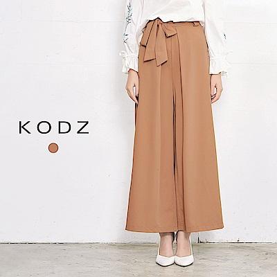 東京著衣-KODZ 經典舒適質感綁帶寬褲-S.M(共一色)