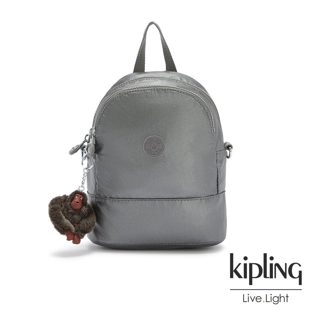 Kipling 寧靜月光灰隨身兩用斜背包-IVES MINI