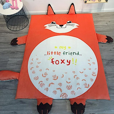 HUEI生活提案 水晶絨 可拆洗動物造型兒童床墊 小狐狸