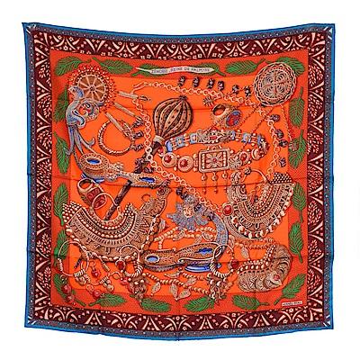 HERMES 經典羅馬圖騰絲質方巾/披巾(橘X藍)