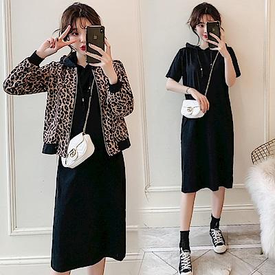 中大尺碼豹紋夾克拉鍊外套加黑色連帽短袖洋裝套裝XL~4L-Ballet Dolly