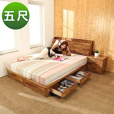 BuyJM拼接木系列雙人5尺2件式房間組(床頭箱+四抽床底)-免組