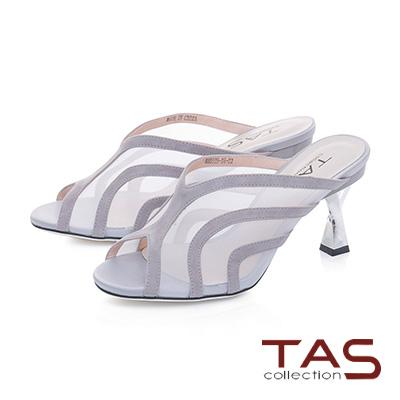 TAS透膚網紗曲線魚口高跟涼拖鞋–成熟灰