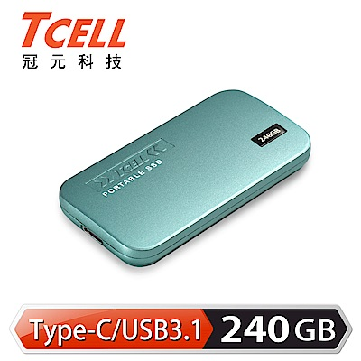 TCELL冠元- TPS100 240GB Type-C 行動固態硬碟(湖水綠)
