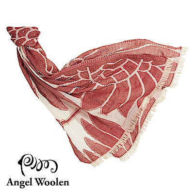 Angel Woolen霓裳-印度手工串珠羊毛披肩-紅裳