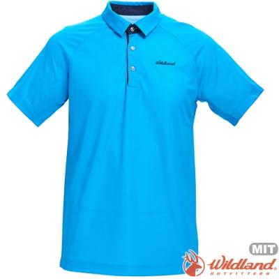 Wildland 荒野 0A71608-45地中海藍 男涼感本布領短袖POLO衫