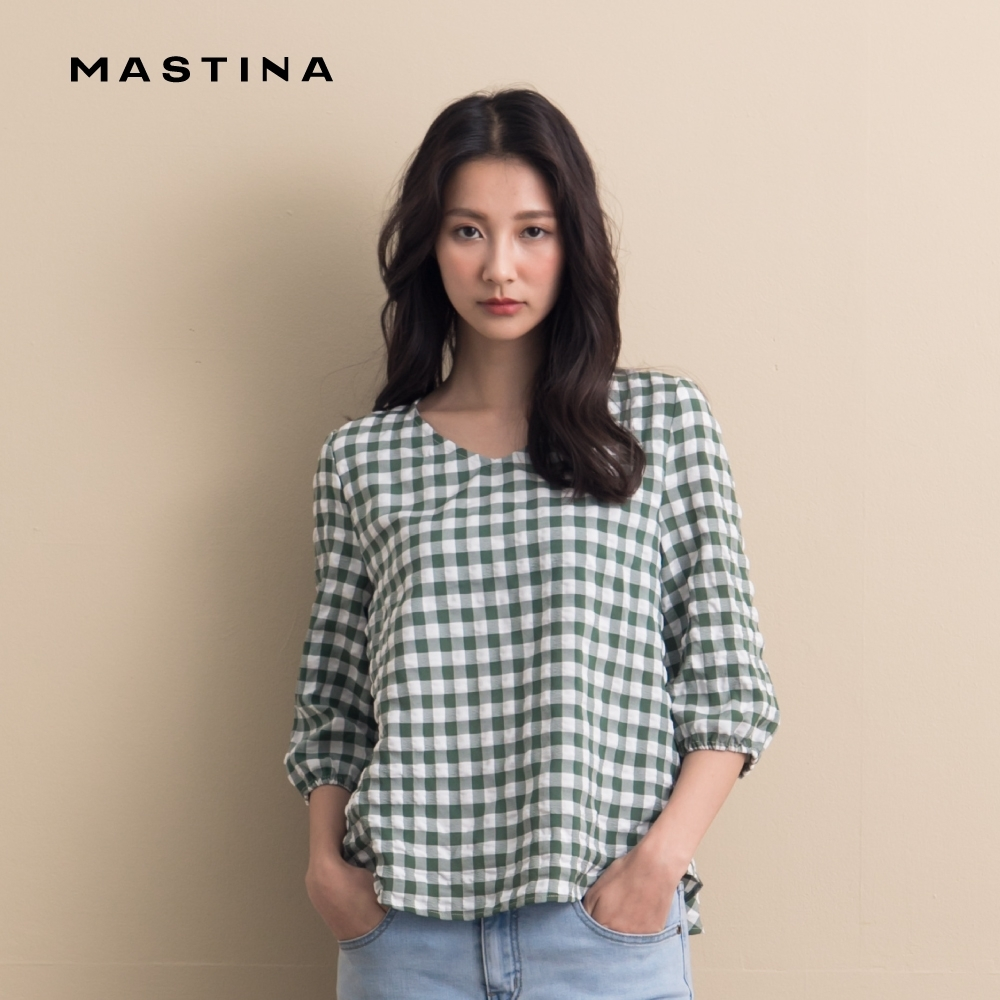【MASTINA】休閒格紋背部造型-襯衫(三色)