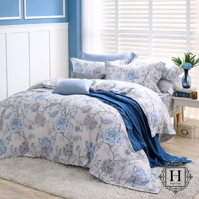 【HOYA H】 Series頂級400織匹馬棉被套床包四件組- 加大(配8x7被套)-幽蘭朵