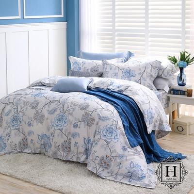 【HOYA H】 Series頂級400織匹馬棉被套床包四件組- 特大(配8x7被套)-幽蘭朵
