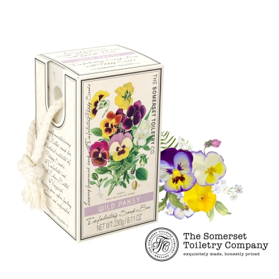 Somerset 賽玫特 英國罌粟籽去角質植物皂-三色堇230g(掛繩)
