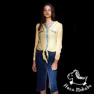Hana+花木馬 荷葉點點印花紡紗拼接造型襯衫上衣(三色)-山楊黃