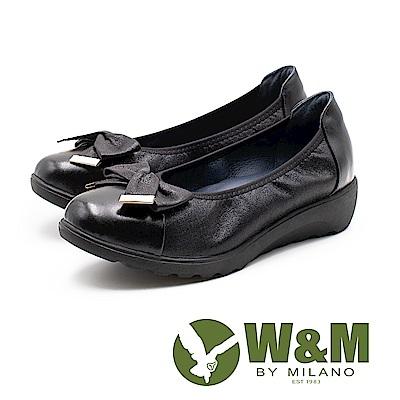 W&M 蝴蝶結裝飾拼接厚底娃娃鞋 女鞋 - 黑(另有藍)