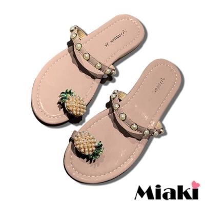 Miaki-拖鞋可愛珍珠平底涼鞋-粉
