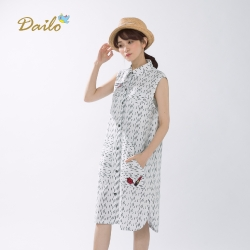 【Dailo】純棉長版前扣式背心襯衫外套(白色)