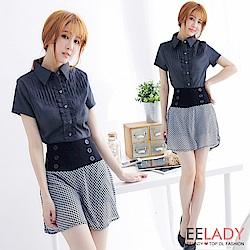 EELADY-OL胸荷葉壓摺短袖襯衫(黑色)