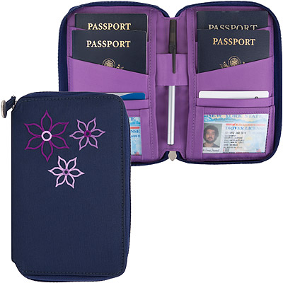 TRAVELON Bouquet繡花拉鍊防護證件護照夾(藍)