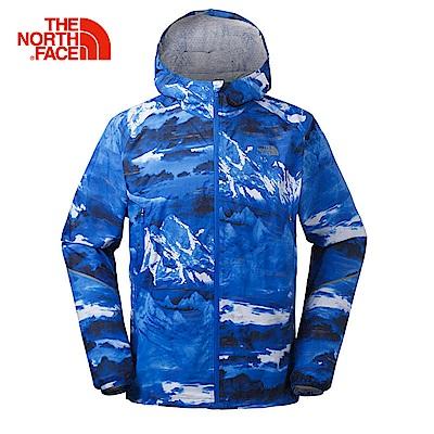 The North Face北面男款藍色印花透氣防水衝鋒衣外套|3F4P7EJ