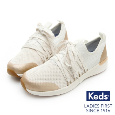 Keds STUDIO FLASH 完美包覆綁帶輕量休閒鞋-白色