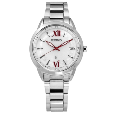 SEIKO 精工 LUKIA 太陽能 藍寶石水晶玻璃 不鏽鋼手錶-銀白色/33mm