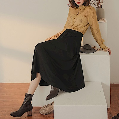 純色不對稱荷葉修身A字長裙-OB大尺碼