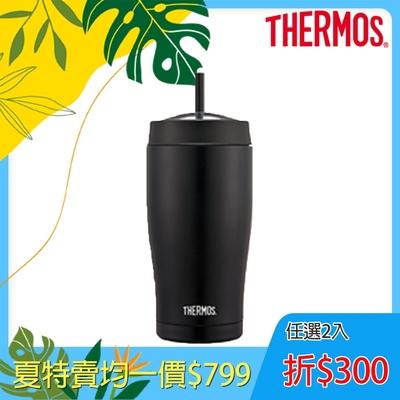 THERMOS膳魔師 不鏽鋼真空吸管隨行瓶0.65L(TS405BK)