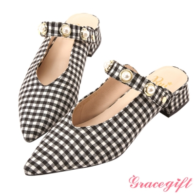 Grace gift X Rui-聯名2way珍珠條帶尖頭鞋 格紋